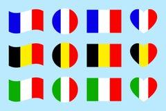 De vlaggenpictogrammen van Frankrijk, Italië, België Vector illustratie Vlakke geometrische vormen Franse, Italiaanse, Belgische  stock illustratie