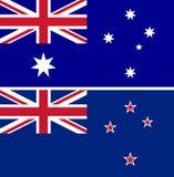 De de vlaggenvector van Australië en van Nieuw Zeeland isoleert vector illustratie