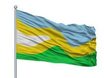 De Vlaggestok van San Jose Del Guaviare City Flag On, Colombia, op Witte Achtergrond wordt geïsoleerd die Vector Illustratie