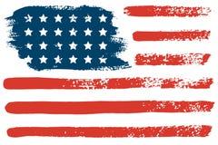 4 de de vlaghand van juli de V.S. trekt de kwaststreken Vector abstracte grungeachtergrond royalty-vrije illustratie