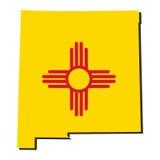 De vlagillustratie van de Kaart van New Mexico royalty-vrije illustratie