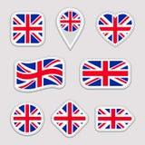 De vlaginzameling van Groot-Brittannië Vector de nationale geplaatste de vlaggenstickers van het Verenigd Koninkrijk Traditionele royalty-vrije illustratie