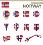 De Vlaginzameling van Noorwegen royalty-vrije illustratie