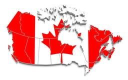 De vlagkaart van Canada op geïsoleerdr wit Stock Foto