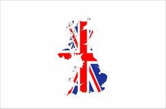 de vlagkaart van het Verenigd Koninkrijk stock afbeelding