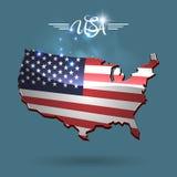 De vlagkaart van Verenigde Staten vector illustratie