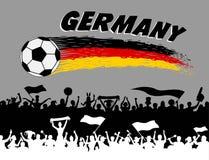 De vlagkleuren van Duitsland met voetbalbal en Duitse verdedigerssilho Royalty-vrije Stock Afbeelding