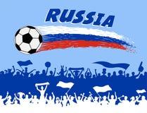 De vlagkleuren van Rusland met voetbalbal en Russische verdedigerssilho Royalty-vrije Stock Foto
