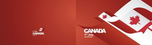 De vlaglint van Canada van de onafhankelijkheidsdag twee vouwen als achtergrond landschaps royalty-vrije illustratie