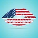 De Vlaglippenstift van de Verenigde Staten van Amerika de V.S. op de Lippen op een Witte Achtergrond worden geïsoleerd die Vector Stock Foto