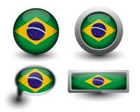 De vlagpictogrammen van Brazilië Royalty-vrije Stock Fotografie