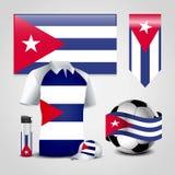 De Vlagplaats van het Land van Cuba op T-shirt, Aansteker, Voetbalbal, Voetbal en Sportenhoed vector illustratie