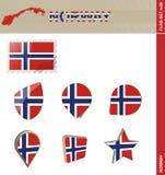 De Vlagreeks van Noorwegen, Vlag Vastgestelde #26 vector illustratie