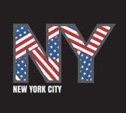 De vlagtypografie van New York, t-shirtgrafiek Stock Afbeeldingen