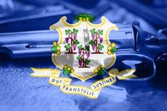 De vlagu van Connecticut S het Kanoncontrole de V.S. van de staat Verenigde Staten royalty-vrije stock foto