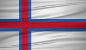 De vlagvector van de Faeröer Vectorvlag van de Faeröer blowig in de wind vector illustratie