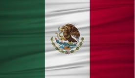 De vlagvector van Mexico Vectorvlag van Mexico blowig in de wind Mexicaanse vlagachtergrond met doektextuur royalty-vrije illustratie