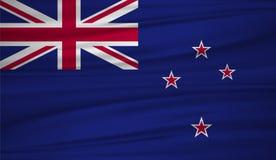 De vlagvector van Nieuw Zeeland Vectorvlag van Nieuw Zeeland blowig in de wind vector illustratie