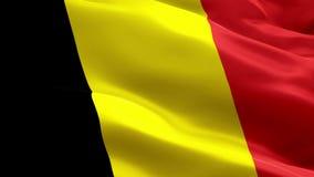 De vlagvideo die van België in wind golven Realistische Belgische Vlagachtergrond De Vlag van België het Van een lus voorzien Clo stock footage