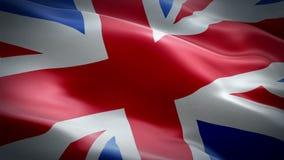 De vlagvideo die van het Verenigd Koninkrijk in wind van Groot-Brittannië en Noord-Ierland golven De realistische Unie achtergron stock video