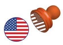 De vlagzegel van de V.S. op wit wordt geïsoleerd dat Royalty-vrije Stock Foto