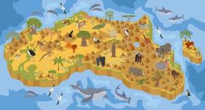 De vlak 3d isometrisch flora van Afrika en de aannemerselement van de faunakaart Stock Foto