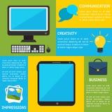 De vlakke Achtergrond Bedrijfs van Infographic Stock Afbeeldingen