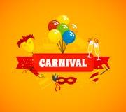 De Vlakke Achtergrond van Carnaval Stock Afbeeldingen