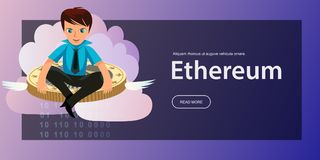 De vlakke affiche van de ether cryptocoin mijnbouw royalty-vrije illustratie
