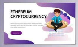 De vlakke affiche van de ether cryptocoin mijnbouw vector illustratie