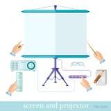 De vlakke bedrijfs of onderwijspresentatieillustratie met de projector van het materiaalscherm neemt nota van console die op wit  Royalty-vrije Stock Fotografie