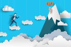 De vlakke Bedrijfsmens beklimt tot de bovenkant door over de wolken Te springen document het ontwerp van de kunststijl Vector ill royalty-vrije illustratie