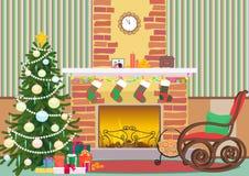 De vlakke binnenlandse vectorillustratie van de Kerstmiswoonkamer De boom en de open haard van het Kerstmisnieuwjaar met sokken K Royalty-vrije Stock Foto's