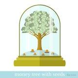 De vlakke boom van het bedrijfsillustratiegeld Stock Foto's
