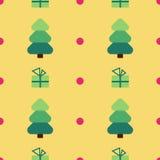 De vlakke boom van ontwerpkerstmis, achtergrond van het gift de naadloze patroon Royalty-vrije Stock Fotografie