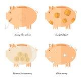 De vlakke concepten van de de pictogrammen vectorillustratie van het spaarvarken financiën en zaken, geld houdt de transparantie  Royalty-vrije Stock Foto's