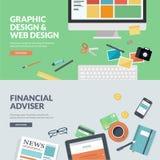 De vlakke concepten van de ontwerp vectorillustratie voor Webontwerp en financiën Stock Foto