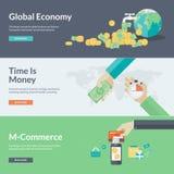 De vlakke concepten van de ontwerp vectorillustratie voor zaken en financiën Stock Afbeeldingen