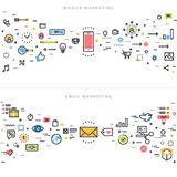 De vlakke concepten van het lijnontwerp voor collectieve marketing Stock Afbeelding