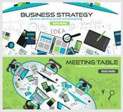 De vlakke Concepten van het Stijlontwerp voor bedrijfsstrategie, financiën vector illustratie