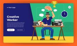De vlakke creatieve arbeider van het ontwerpconcept De vector illustreert royalty-vrije illustratie