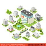 De vlakke 3d isometrische infographic vector van het winkelcomplexrestaurant Royalty-vrije Stock Afbeelding