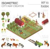 De vlakke 3d isometrische landbouwgrond en stadselementen van de kaartaannemer is Stock Foto's
