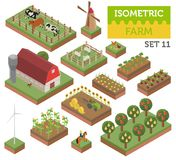 De vlakke 3d isometrische landbouwgrond en stadselementen van de kaartaannemer is Stock Fotografie