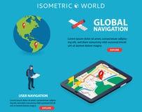 De vlakke 3d isometrische mobiele GPS-vector van navigatiekaarten De speld van het wereldsilhouet Tablet met gps navigator Stock Afbeelding