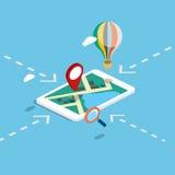 De vlakke 3d isometrische mobiele navigatie brengt infographic in kaart Royalty-vrije Stock Afbeeldingen