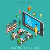 De vlakke 3d isometrische onderwijs vector van de e-lerende kennisschool Stock Foto's