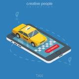 De vlakke 3d isometrische online mobiele orde van de taxitelefoon Stock Afbeeldingen