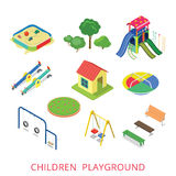 De vlakke 3d isometrische reeks van het de speelplaatspictogram van stijl moderne kinderen Royalty-vrije Stock Fotografie
