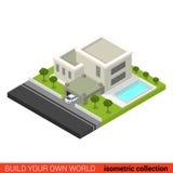 De vlakke 3d isometrische van de het huisbinnenplaats van de privatfamilie de poolbouw Stock Afbeelding